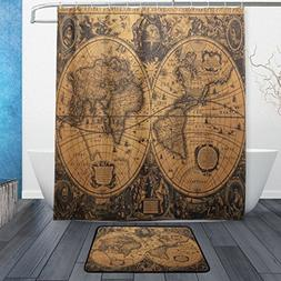 ALAZA Set of 2 Round World Earth Map 60 X 72 Inches Shower C