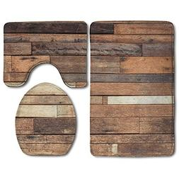 Hexu Rustic Floor Planks Print Grungy Look Farm House Countr