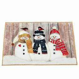 Rustic Snowman Holiday Bath Mat with Rubber Back