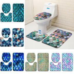Scale Pattern Bathroom Pedestal Mat Set Toilet Lid Cover Con