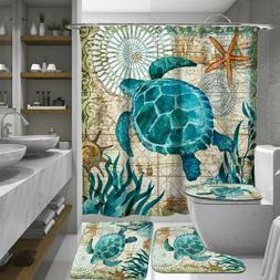 "4Pcs 71"" Waterproof Bathroom Shower Curtain Toilet Cover Mat"