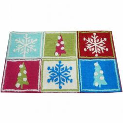 Style Selections Holiday Patchwork Throw Rug 20x34 Skid Resi