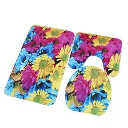 Sothread 3PC/Set Non-Slip Floral Printed Decor Mat Pedestal
