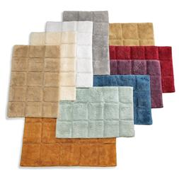 Set of 2 Checkered Bathroom Rugs in Colors 2 Sizes Plush Cot