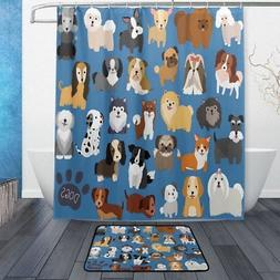 ALAZA Set of 2 Cute Animal Dog 60 X 72 Inches Shower Curtain