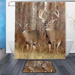 ALAZA Set of 2 Forest Deer 60 X 72 Inches Shower Curtain and