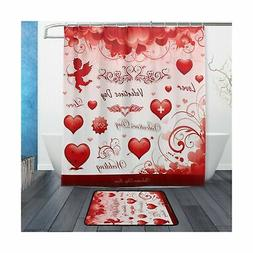 ALAZA Set of 2 Heart Love 60 X 72 Inches Shower Curtain and