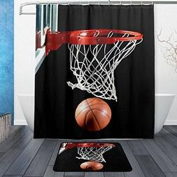 ALAZA Set of 2 Sports 60 X 72 Inches Shower Curtain and Mat