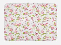 Ambesonne Shabby Chic Bath Mat by, Nature Blossoms Buds Flow