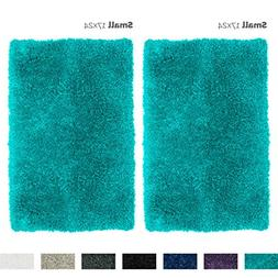 Nestl Bedding 2 Pack Small Shaggy Bath Rug with Non-Slip Bac