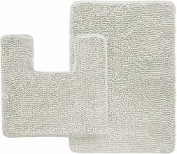Gorilla Grip Shaggy Chenille 2 Piece Rug Set- Square U-Shape