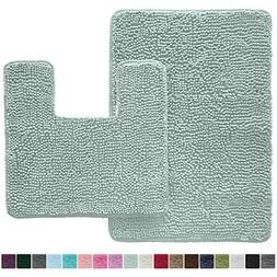 LuxUrux Shaggy Chenille 2 Piece Bath Rug Set, 19x19 Square U