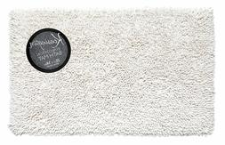 Shaggy Cotton Chenille Room Bath Rug, White
