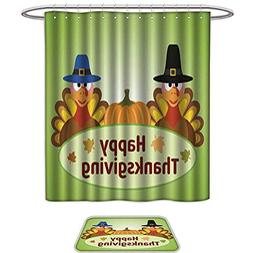 UHOO Set of 2 Shower Curtain and Mat SetThanksgiving Day Bac