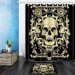 Skull Bathroom Mat Waterproof Polyester Fabric Shower Curtai