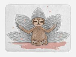 Ambesonne Sloth Bath Mat, Little Cute Sloth Meditation Lotus
