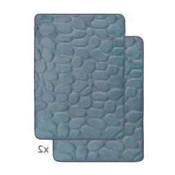 Smoke Blue Memory Foam Bath Mat Set : Set of 2 Mats, Non Ski
