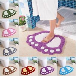 Soft Bathroom Bath Mat Contour Shower Rug Foot Shape Non-Sli