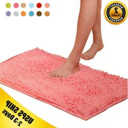 Soft Microfiber Shaggy Anti Slip Absorbent Bath Mat Bathroom