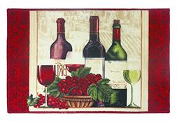 Soho Wine Bottles Kitchen Rug With Non Skid Back
