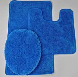 SOLID BATH RUG CONTOUR MAT TOILET LID COVER BATHROOM SET 3PC