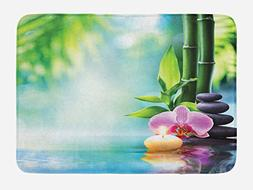 Ambesonne Spa Bath Mat, Meditation and Zen Picture of Bamboo