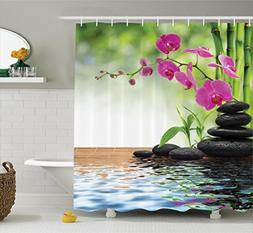 Ambesonne Spa Decor Collection, Composition Bamboo Tree Floo