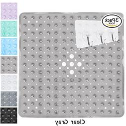 Yimobra Square Shower Mat Non Slip for Bath 21x21 Inch Clear