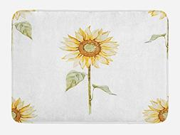 Ambesonne Sunflower Bath Mat by, Sunflowers with Watercolor