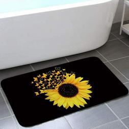 Sunflowers Butterfly Bath Mat Non-Slip Outdoor Indoor Front