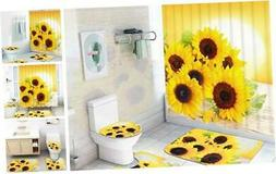 Sunflowers Shower Curtain Sets with Non-Slip Rugs, Toilet Li