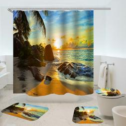 Sunset Bathroom Polyester Shower Curtain Non Slip Toilet Cov