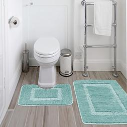 Super Soft Microfiber Set of 2 Bathmats  with Anti-Skid Bott