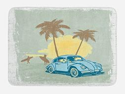 Ambesonne Surf Bath Mat by, Summer Illustration with Vintage
