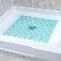Teal Turquoise Large Non-Slip Shower-Mat with Drain Holes: S