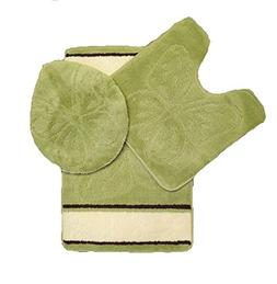 Qutain Linen Thick Butterfly 3 Piece Soft High Pile Bathroom