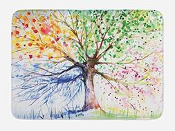 Ambesonne Tree Bath Mat by, Watercolor Style Artistic Tree w