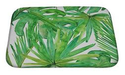 Gear New Tropical Leaves. Bath Mat, Microfiber, Foam With No