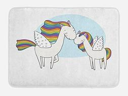 Ambesonne Unicorn Bath Mat by, Pegasus Horses with Manes in
