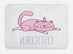 Ambesonne Unicorn Cat Bath Mat by, Pink Cat with a Horn and