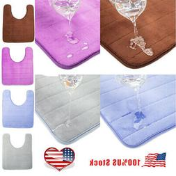US Bath Mat Non-Slip Bathroom Rug U-Shaped Toilet Contour Ma