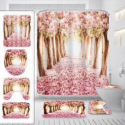 US Cherry Forest Polyester Shower Curtain 12 Hooks Rug Toile