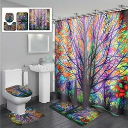 US Colorful Tree Polyester Shower Curtain Bath Mat Pedestal