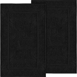 Utopia Bath Rugs Towels Cotton Banded Mats, 2 Pack , Black H