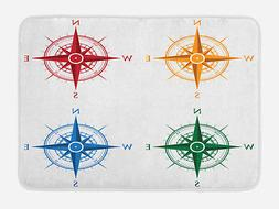 Vintage Bath Mat Colorful Compasses Non-Slip Plush Mat, 29.5