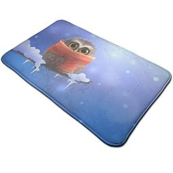 Warm-Tone Cute owl Wallpaper Memory Foam Bath Mat Non Slip A