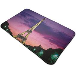 Warm-Tone Eiffel Tower Wallpaper Sunset Memory Foam Bath Mat