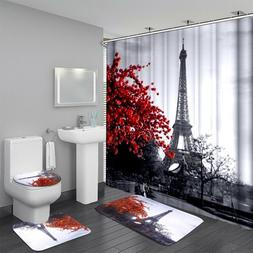 Waterproof Bathroom Shower Curtain 3PCS Bathroom Bath Mat Se