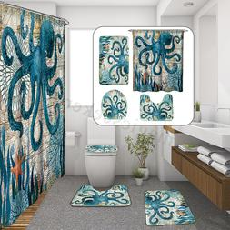 Waterproof Octopus Polyester Shower Curtain Toilet Rug Floor