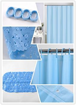 home queen Waterproof PEVA Shower Curtain Set, Mold and Mild